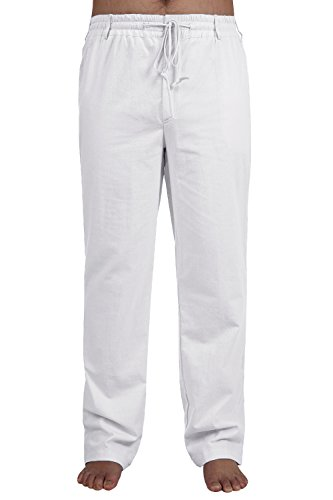 - Mens Pants Casual Cotton Relaxed Fit Tall Panties Summer Trouser with Elastic Waist