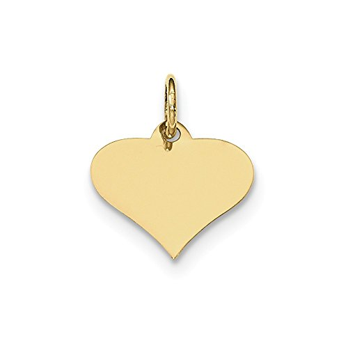 10k Yellow Gold .018 Gauge Engraveable Heart Disc Pendant Charm Necklace Engravable Love Fine Jewelry Gifts For Women For Her