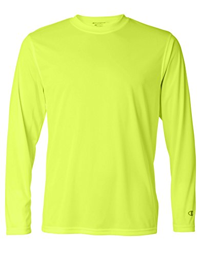 Champion Men`s Double Dry Long Sleeve Tee, XL, Highlighter Yellow