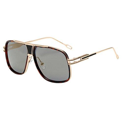 Unisex Sonnenbrille, Frauen Männer Mode Rounded Metal Frame Classic Glasses A