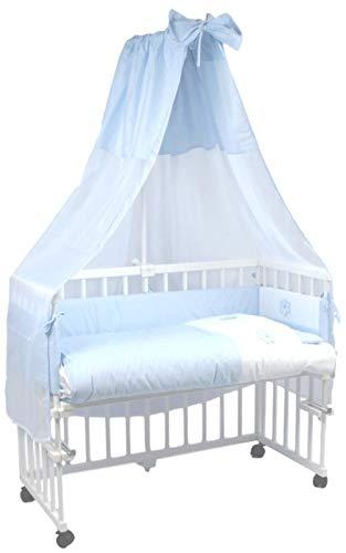 mit Rollen und Matratze MamaLoes Beistellbett Baby komplett komplett mit Ausstattung 8-fach h/öhenverstellbar Stubenwagen blau inklusive Himmelbett