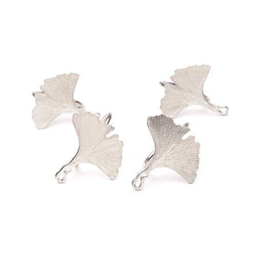 Ginko Leaves Pewter Napkin Ring Set