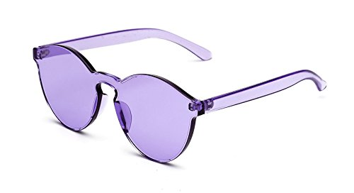GAMT Rimless Tinted Transparent Sunglasses Colorful One Piece Designer Glasses (Purple, - Sunglasses Sale Black Friday