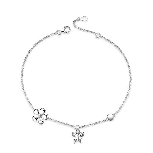 YFN Sterling Sliver Anklet Bracelet for Women with Butterfly and Daisy, Butterfly Bangle Anklets for Teen Girls,Birthday Gift