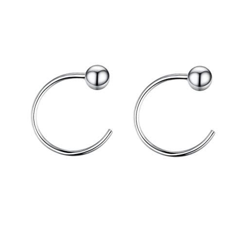 3mm Large Hoop Earrings - Izpack 3mm Ball Half Small Piercing Hoop Studs Earrings for Cartilage Women Girls Sensitive Ears Sterling Silver Cuff Wrap Hypoallergenic