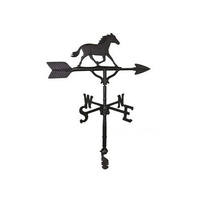 Montague Metal Products 32-Inch Weathervane with Satin Black Horse Ornament