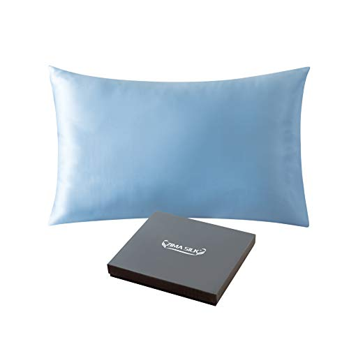 ZIMASILK 25 Momme 100% Mulberry Silk Pillowcase for Hair and Skin,Both Sides Natural Silk,Hidden Zipper Closure,1 Pc Gift Box (Light Blue, ()