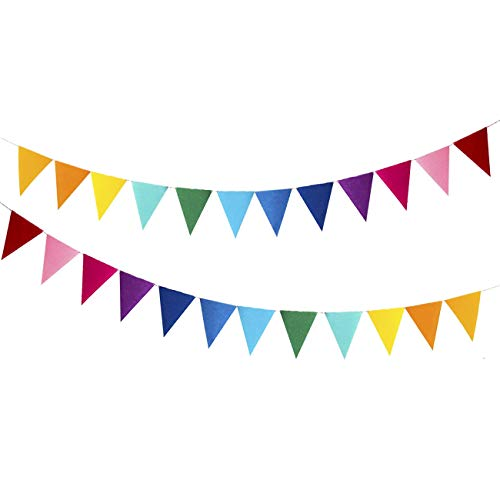 24pcs Pennant Banners with 12 Colors, Jmarfiyo 16.4ft Multicolor Pennant Flags, Reusable Felt Fabric Bunting Banner for Baby Shower, Birthday, Playroom, Classroom, Festival, Outdoor Party Decoration