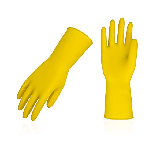 Vgo 10Pairs Reusable Household Cleaning Dishwashing Kitchen Glove,Long Sleeve Latex Working,Painting,Gardening Gloves,Pet Care(Size M,Yellow,HH4602)