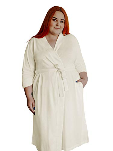 SIORO Womens Plus Size Robes Lightweight Cotton Kimono Dressing Gown Long Soft Knit Bathrobe,Ivory XL (Womens Knit Robe)