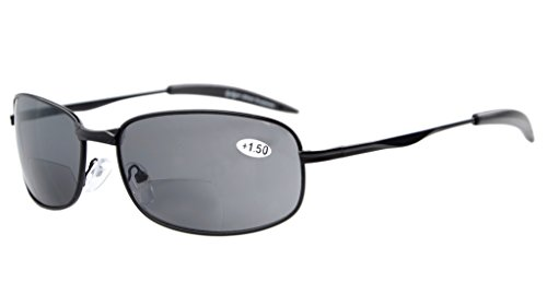 Eyekepper Metal Frame Fishing Golf Cycling Flying Outdoor Bifocal Sunglasses Black +2.5