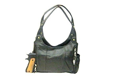 Concealed Carry Handbag / Purse in Soft Cowhide Leather with Gold Tone Trim (Black)