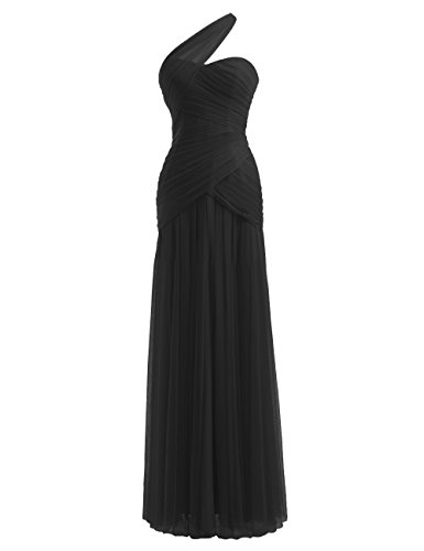 Diyouth One Shoulder Sleeveless Pleats Long Chiffon Bridesmaid Dress Black Plus Size 20