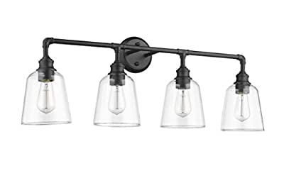 "4 Light Matte Black Vanity- 35.87""W x 12.87""H x 8""E- Clear Glass Shade- 4x60W (E27)- Bulbs Not Included- Vivio by HOMEnhancements"
