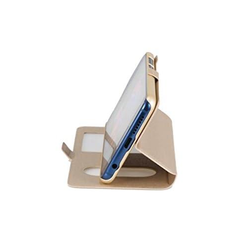 "EMIRROW Huawei Honor 9 (5.15"") Coque, Housse en PU Cuir -[ Magnétique + View avec Fenêtre ] Ultra Slim Coque Etui (Or) delicate"