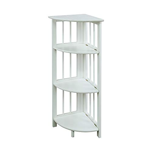 (Casual Home 315-11 4-Shelf Corner Folding Bookcase, White)