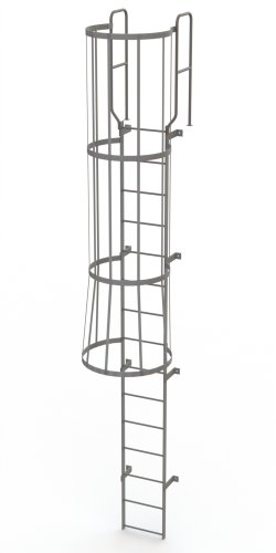 Tri-Arc WLFC1215 15-Rung Walk-Thru Fixed Steel Ladder with Cage