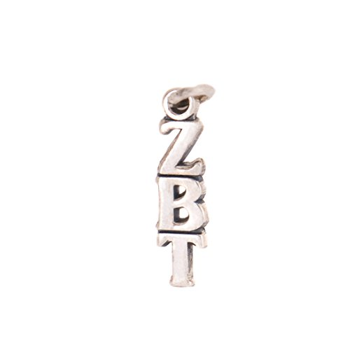 Zeta Beta Tau Fraternity Letter Sterling Silver or 14k Gold Lavalier Necklace with Chain ZBT (Silver)