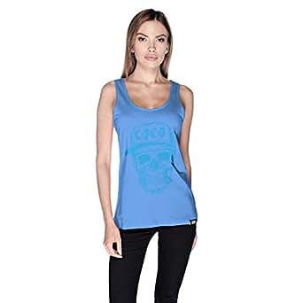 Creo Light Blue Coco Skull Tank Top For Women - M, Blue