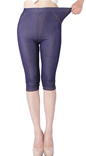 LANBAOSI Women's Stretch Capri Leggings with Pockets Plus Size 3/4 Cotton Denim