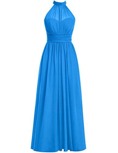 Cdress Pour Femmes Robes De Demoiselle D'honneur Fendus Longue En Mousseline De Soie Ocean_blue De Bal De Mariage Col Haut