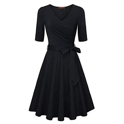 - TnaIolral Womens Vintage Flared A-Line Dress with Belt Floral Cross V- Neck Dresses