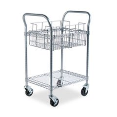* Wire Mail Cart, 600lbs, 18-3/4w x 26-3/4d x 38-1/2h, Metallic Gray