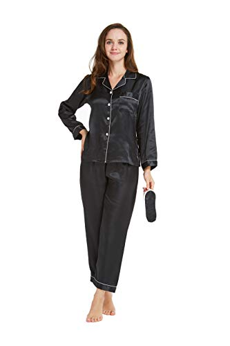 TIMSOPHIA Womens Long Sleeve Satin Pajamas with Mask, Two-Piece Sleepwear Button-Down Pajamas Set (Black, ()