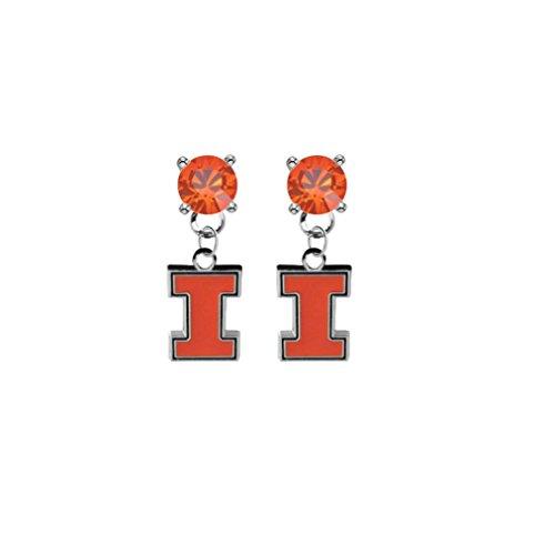 Illinois Fighting Illini Orange Crystal Stud Post Dangle Earrings