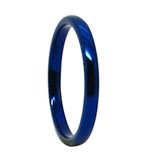 2mm-8mm Tungsten Carbide Ring Blue Dome Mens Womens Wedding Band Fashion Jewelry High Polished (width2mm, 5.5)