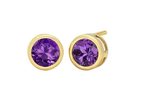 14k Yellow Gold 6mm Amethyst Round Bezel Gemstone Stud (Amethyst 14k Gold Post Earrings)