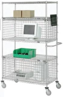 Nexel Wire, Mobile Wire Shelving With Two Security Enclosures, Wss-2-1836-Mob, W X D X H: 18 X 36 X 80, Product Weight: 153#, Ca5S4+S2Se1836