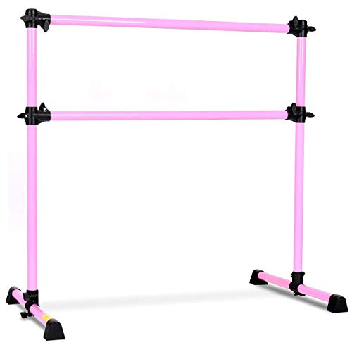 GOFLAME Ballet Barre Portable Double Freestanding Ballet Barre Adjustable Portable Heavy Duty Dancing Stretching Ballet for Home,Dance Barre, Fitness Ballet Bar (Pink)
