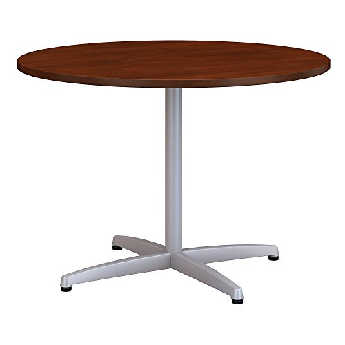Bush Business Furniture 42W Round Conference Table with Metal X Base in Hansen Cherry