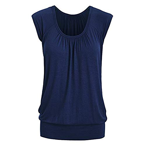 Aniywn Women Round Neck Ruffled Short Sleeve Blouse Solid Color Ruched Irregular T-Shirt Tops ()