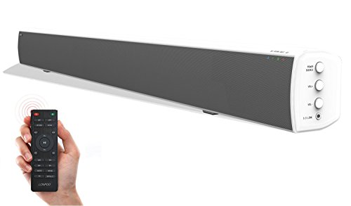 TV Sound Bar, 20W×2 Bluetooth Soundbar with Remote, 32 inch 2.0 Channel Home Theater Speakers, Wireless and Wired Bluetooth Audio for TV/PC/ Phones/Tablets (White, 2018 Upgraded)