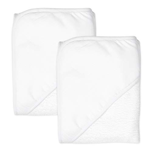 HonestBaby 2-Pack Organic Cotton Hooded Towels, Bright White, One Size