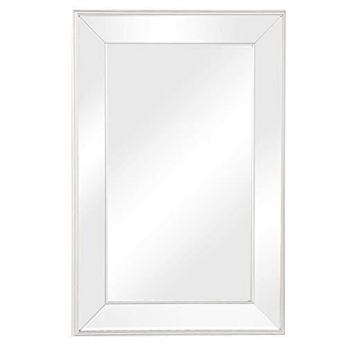 Beveled Vanity Mirror - TANGKULA Large Flat Framed Wall Mounted Mirror w/3 Inch Edge Beveled Mirror Frame Premium Silver Glass Panel Mirror Rectangle Hangs for Vanity, Bedroom, or Bathroom (24