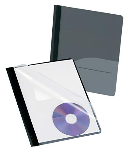 Oxford Clear Front Report Covers w/Pocket and CD Slots, Onyx, Letter Size, 5 per Box, -
