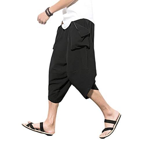 Poches Bolawoo Couleur Deux Mode Casual Hommes Sarouel Pantalons Taille Unie Avec 1 3xl couleur Harem Noir Bandage wqqRTC