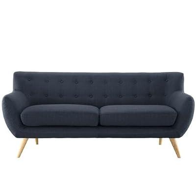 Modern Navy Blue Linen Upholstered Mid-Century Style Sofa Loveseat