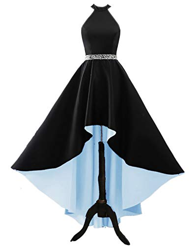 Changuan Women's Halter High Low Satin Prom Dress Asymmetrical Formal Gown Lace up Back Black/Light Blue-20 ()