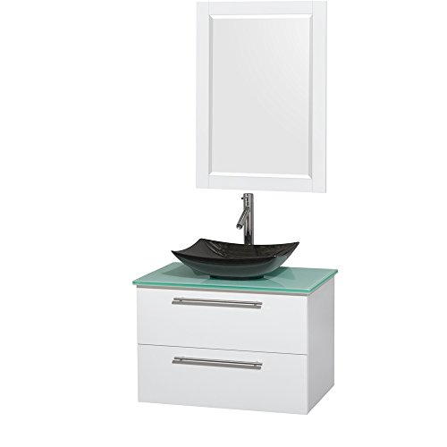 Wyndham Collection Amare 30 inch Single Bathroom Vanity in Glossy White, Green Glass Countertop, Arista Black Granite Sink, and 24 inch Mirror