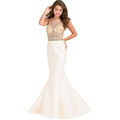 JVN by Jovani Womens Illusion Beaded Formal Dress Beige 4