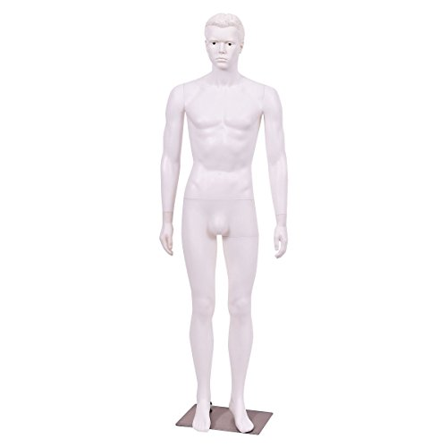 6 FT Male Mannequin Plastic Full Body Dress Form Display w/ Base White New by Happybeamy