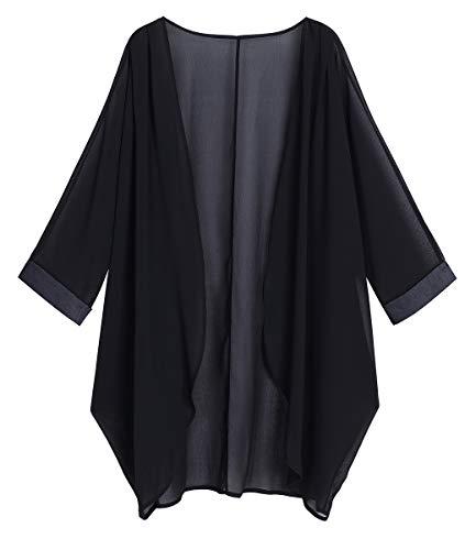 OLRAIN Women's Floral Print Sheer Chiffon Loose Kimono Cardigan Capes (XX-Large, Black-1)