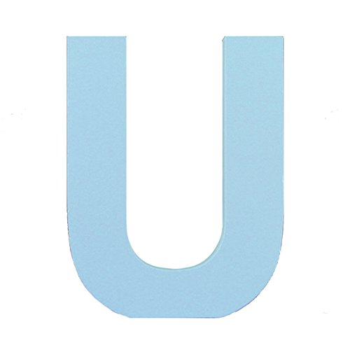 Aspire 3D Wooden Hanging Wall Letters Alphabet Wall Home Office Party Decoration-Blue Letter U-6 Inch (Wooden Hanging Letter Blue)