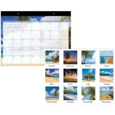AT-A-GLANCE Tropical Escape Desk Pad, 12 Month, Jan-Dec, 22 x 17 Inches, Blue (AAGDMDTE232)