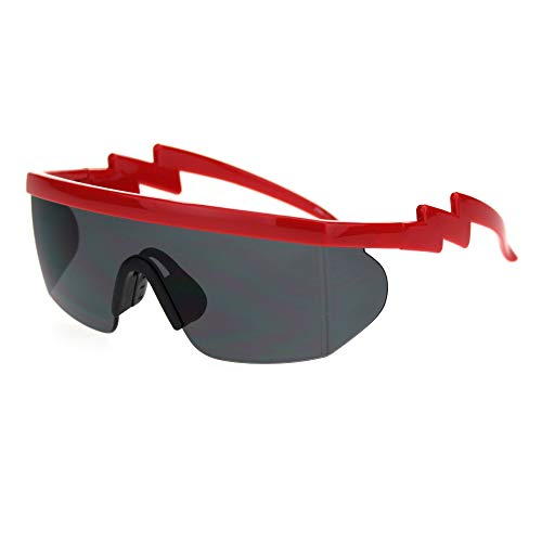Flat Top Crooked Bolt Arm Goggle Style Color Mirror Shield 80s Sunglasses (Red Black)
