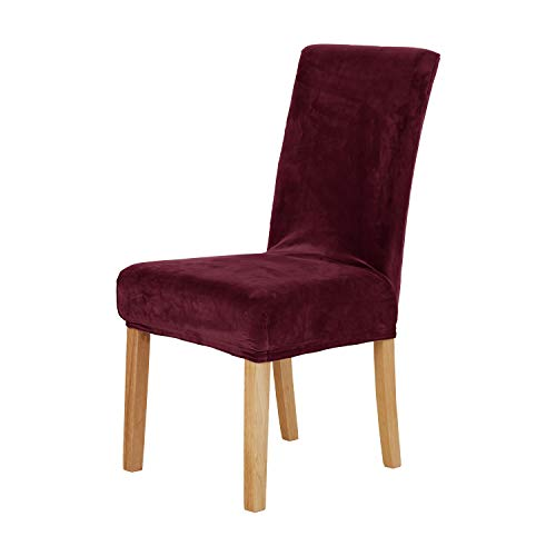 Deconovo Luxury Soft Velvet Stretch Dining Chair Covers Short Dining Chair Slipcovers for Kitchen Set of 4 Burgundy